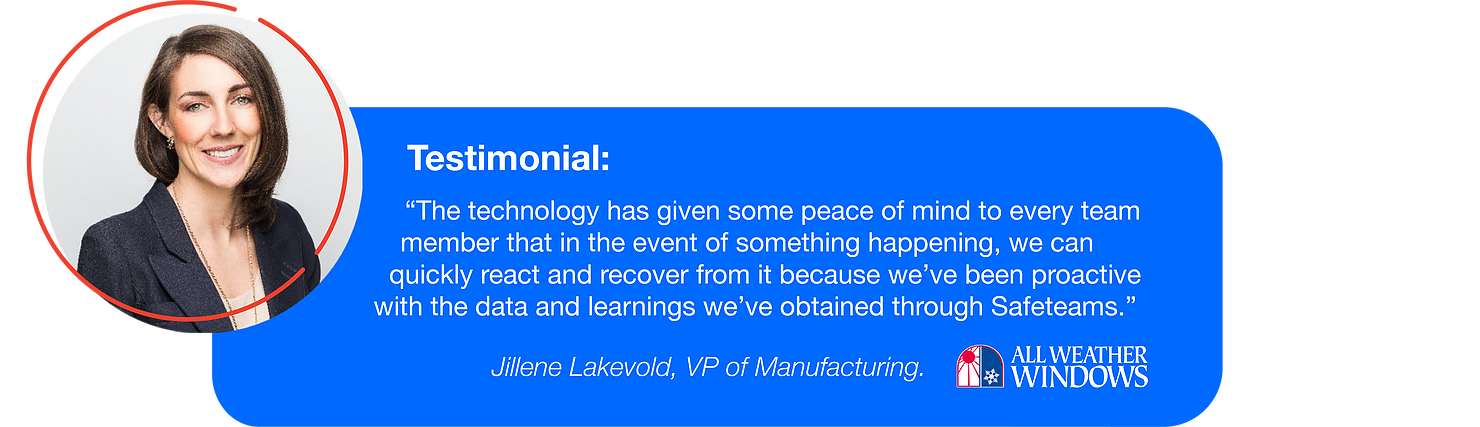 Safeteams_Jillene Lakevold, VP of Manufacturing at All Weather Windows_choosing contact tracing for peace of mind